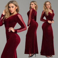 Ever-Pretty Burgundy Sexy V-neck Long Evening Dress Cocktail Prom Party Dresses