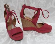 590b90d1807 Lucky Brand Pink Leather Espadrille Platform Wedge Sandals Sz.8.5 38.5 Shoes