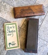 Vintage Pike Sharpening Stone Black Oilstone w/ 1926 Instruction Booklet