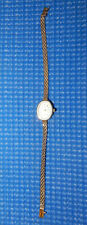 "Solid 14k Yellow Gold Mesh Bracelet Watch by Geneve Quartz ""Heather"" - Oval Face"