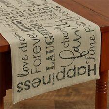 FAMILY HOME TABLE RUNNER : FARMHOUSE LAUGH FOREVER FAITH PRIMITIVE CLOTH LINEN