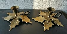 Vintage Holly Leaf 2 Solid Brass Chamberstick Christmas Taper Candle Holder