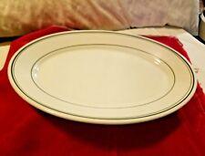 "Homer Laughlin Restaurant Ware China Oval Serving Dish W/Green Stripe Trim 12.3"""