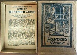 Antique 1916  EDUCATIONAL GAME OF HOUSEHOLD WORDS CARDS VINTAGE ADVERTISING