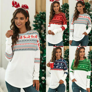 Plus Size Womens Christmas Xmas Sweater Jumper Tops Pullover Reindeer Shirts uk