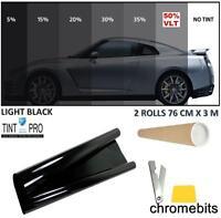 PROFESSIONAL ANTI-SCRATCH CAR WINDOW TINT FILM LIGHT BLACK SMOKE 50% 76cm x 6M