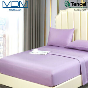 Tencel Ultra Soft Bed Sheets Lyocell Breathable Cooling KING Flat Sheet Purple