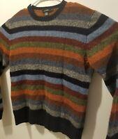 "J Crew Crewneck Sweater Mens Medium 100% Lambs Multi~Colored~Stripes  """