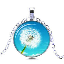 Vintage Style Glass Pendant Blue & White Dandelion Flower Necklace N468