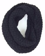 Women's Black Winter Scarves Cable Knit Infinity Scarf