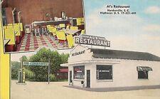 Al's Restaurant in Hardeeville SC Postcard 1958 Gas Pumps