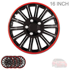 NEW 16 INCH BLACK W RED TRIM WHEEL RIM HUBCAPS COVERS LUG SKIN SET FOR HONDA 527