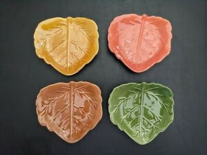 "Leaf Shaped 6"" Appetizer Plates Barbara Eigen Design Crate & Barrel Portugal 4"
