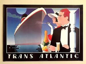 """STEPHEN HAINES HALL 1980'S POST MODERN """"TRANS ATLANTIC"""" LITHOGRAPH PRINT POSTER"""