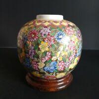 SOVA&SOVA IMPORTER USA 🌺 Ginger Jar/Vase Handpainted Flowers on Gold Hong Kong
