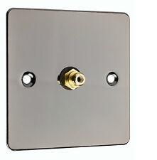 RCA / Phono Audio Wall Face Plate - Black Nickel + Screws,  Solder,  Heatshrink