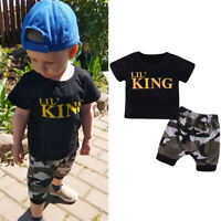 Infant Baby Boy Kid Clothes LIL KING T shirt Camo Shorts Pants Summer Outfit Set