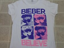JUSTIN BIEBER Sunglasses T-SHIRT Ladies MED Believe 4 Photos 2012 White Concert