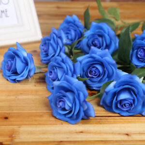 Royal Blue Wedding Flowers Silk Latex Roses 10PCS For Bouquet Table Centerpieces