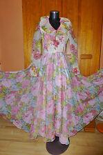 Vtg 70s Sheer Organza FLORAL Print Ruffle BOHO Wedding Full Skirt MAXI DRESS