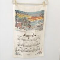 Vintage Calendar Tea Towel country winter farm sunset 1979 Currier and Ives