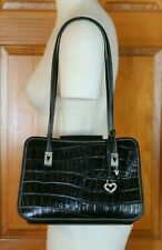 WOMEN'S VINTAGE AUTHENTIC BRIGHTON HAND BAG CROCO BLACK EXCELLENT CONDITION