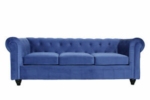 * New* Ready Assembled Chesterfield 3 Seater Velvet Fabric Couch Sofa In Blue