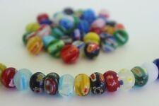 40 pce Multi-Coloured Abacus Millefiori Glass Beads 10mm x 6mm Jewellery Making