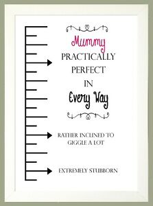 """Personalised Gift """"PRACTICALLY PERFECT"""" Named Print Sold in a WHITE WOOD FRAME"""