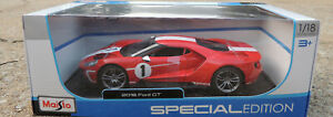RED & WHITE 2018 FORD GT MAISTO 1:18 SCALE DIECAST METAL MODEL CAR