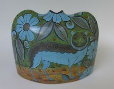 """Mexican Tonala burnished pottery vase vessel by ANGEL ORTIZ 8 3/4"""" x 6 1/2"""""""