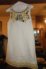 CHARLOTTE RUSSE Cream Sleeveless Dress Yellow Brown EMBROIDERED Flowers sz M