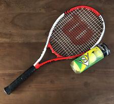 """New listing Wilson L3 Roger Federer Tennis Racket 4 3/8"""" grip with 3x Dunlop Tennis Balls"""