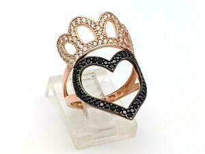 925 Sterling Silver Rose Gold Black & White Zircon Women's Ring Size 6.5 US