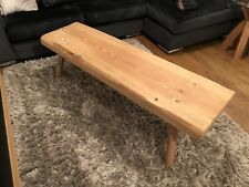 Rustic Pine Pig Style Bench - Hand Made - Coffee Table - Oak Legs