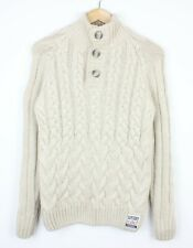 Superdry Mens Beige Chunky Cable Knit Button Collared Jumper Pull Over - S