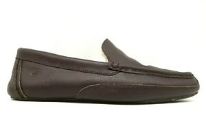 Sperry Top Sider Brown Leather Faux Fur Lined Lounge Slippers Shoes Men's 12 M