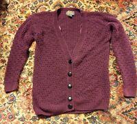 015 VTG Women's PAris Sport Club Sweater Large Button Front Purple Cardigan