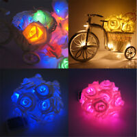 LED Rose Flower Xmas String Lights Fairy Wedding Christmas Party Garden Decor