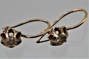 Russische Ohrringe Silber 925 Vergoldet mit Stein