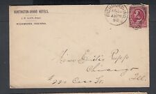 USA 1890 HUNTINGTON GRAND HOTEL COVER RICHMOND INDIANA TO CHICAGO ILLINOIS