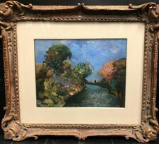 Oil Painting By Maurice Ghiglion- Green ( French, 1913-1989 ) Wood Framed