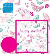 2 Sheets Gift Wrapping Paper Tags & Greeting Card BUTTERFLY Pink Birthday Ladies