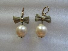Betsey Johnson Earrings Faux Pearl Mesh Bow Crystal NEW $55