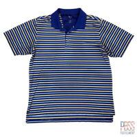 Adidas Golf Mens L Short Sleeve Polyester Climalite Polo Shirt Striped Blue