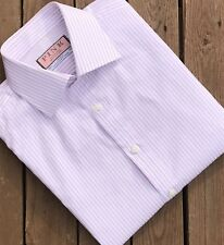 Thomas Pink Shirt White/Fine PinkStripe. Collar 15 1/2 Inches. Ex Used Condition