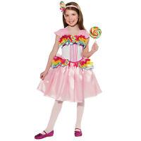 Girls Rainbow Lollipop Candy Land Princess Girl Halloween Costume Dress S M