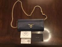 Authentic New Prada Saffiano Blue Leather Crossbody Bag Purse