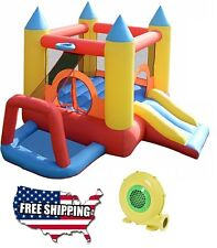 Castle Bounce House With 480 Watt Blower Combo Water Slide Inflatable Jumper Kid