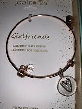 FootNOTES Stainless Steel Girlfriends Expandable Gold Tone Bracelet in Box